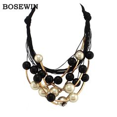 Maxi Jewelry imitation Pearl Necklace Black Rope Bead Golden Tube Statement Collar Choker Necklace For Women Collier Like if you remember Get it here