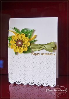 Lovely quilled card, shows how beautiful quilling can look on a card