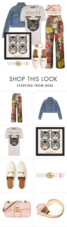 """""""Green-Eyes Kitty T-Shirt"""" by forgottenmelody ❤ liked on Polyvore featuring Gucci and MyFaveTshirt"""
