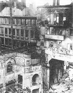 The city was severely damaged throughout, the firestorm that raged burned out most of the buildings across many areas