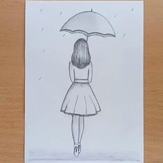 How to draw a girl with umbrella pencil sketch step by step it& our simple . - How to draw a girl with umbrella pencil sketch step by step it& our simple sketch hope you li - Art Drawings Sketches Simple, Girl Drawing Sketches, Cute Easy Drawings, Girly Drawings, Art Drawings For Kids, Girl Sketch, Pencil Art Drawings, Pencil Sketches Easy, Easy Sketches To Draw