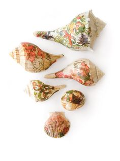 Growing up, Cheryl Miller was always fascinated with shells. Now, she uses decoupage and decorative napkins to turn them into unique works of art. See more of Cheryl's shell art in GreenCraft Magazine Spring 2015.