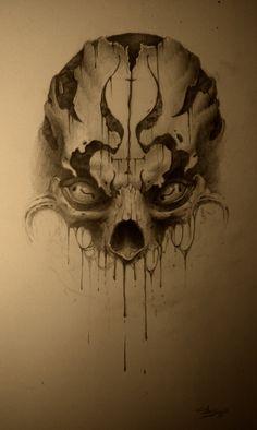 skully by AndreySkull on DeviantArt Evil Skull Tattoo, Skull Tattoos, Life Tattoos, Body Art Tattoos, Sleeve Tattoos, Skull Sketch, Sketch Art, Sketches, Crane
