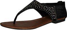 Kali Footwear Women Super Rhinestone Stud Flat Thong Sandal