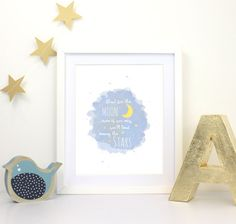 This Shoot for the Moon Print would make a fab blue baby shower gift or a piece of boys bedroom decor! Why not delight the mummy to be with this inspirational kids picture or inspire your little one to achieve great things? Imagine the toothy grin when they first learn to read and learn to believe they can achieve anything! This new baby gift idea has the lovely sentiment Shoot for the Moon and even if you miss youll land among the stars and features a lovely light blue watercolour…