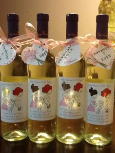 How I asked my bridesmaids :: personalized wine labels with illustration by philoSophie's :: www.celebratewithsophies.com