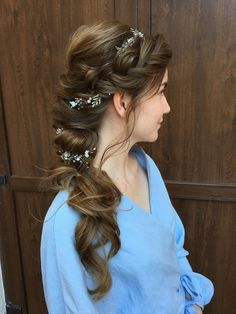 Bride hair accessories Natural Wedding accessories Flower hair vine long Prom hair jewelry Bridal shower gift her sister women Prom Hairstyles For Long Hair, Bride Hairstyles, Princess Hairstyles, Updo Hairstyle, Braided Hairstyles For Wedding, Engagement Hairstyles, Bridal Hair Buns, Wedding Headband, Hair Garland