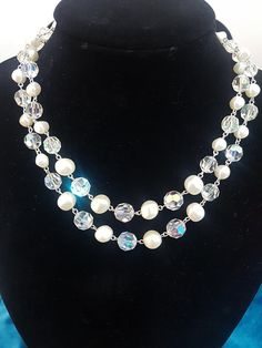 Vintage 50's CZECH AURORA BOREALIS Facetted Crystal and Irregular Pearl Double Strand Graduated Beaded Necklace. Crystal Necklace, Beaded Necklace, Aurora Borealis, Metal Chain, Wedding Attire, Pearl Beads, Vintage Items, Jewellery, Pearls