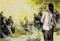 UNKNOWN - Woman with Hooded Men - item by fineart.ha Magazine Art, Woman, Painting, Painting Art, Women, Paintings, Painted Canvas, Drawings, Journal Art