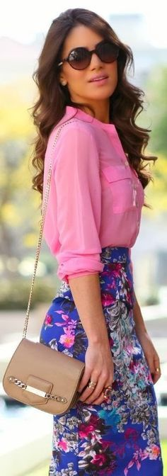 Bright Blue Floral Print Pencil Skirt. Pink Blouse