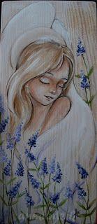 Lawendowy Anioł  angel acrylic painting on wood