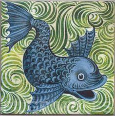 Wm De Morgan Blue Fish Ceramic or Porcelain Tiles Kitchen Bathroom Fireplace 2 William Morris, Cast Iron Fireplace Insert, Morgan Blue, Dolphin Art, Victorian Art, Victorian Tiles, Arts And Crafts Movement, Tile Design, Islamic Art