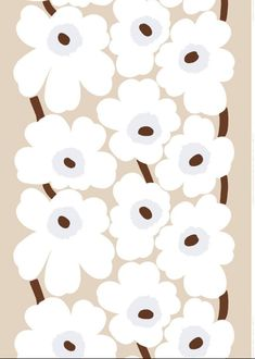 Fabric Designs unikko linen - This thin printed linen fabric features the classic Unikko pattern in beige, white and brown. Marimekko Wallpaper, Marimekko Fabric, Textures Patterns, Print Patterns, Floral Patterns, Fabric Patterns, Pattern Illustration, Surface Pattern Design, Graphic