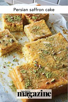This fragrant cake is made with classic Middle Eastern flavours like rosewater, cardamom, pistachio and the star ingredient, saffron. Get the Sainsbury's magazine recipe Saffron Cake, Baking Recipes, Cake Recipes, Natural Yogurt, Sainsburys, Middle Eastern Recipes, Food Trends, Cookies Ingredients, Recipe Collection