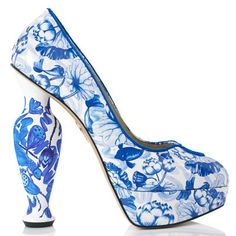 """Charlotte Olympia   FW 2014   """"Porcelain Platforms"""" in blue koi carp print in patent leather from the exclusive """"Shanghai Express"""" Collection   cynthia reccord"""