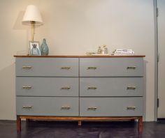 Ikea Dresser Makeover - Tarva 6 drawer dresser makeover for under $200. Mid century inspired makeover, with stained top and pained drawers.