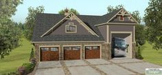This detached RV garage plan is perfect for the explorers among us. A dedicated bay to get your RV out of the elements along with 3 car bays. The living space utilizes both floors, with the kitchen and living space on the ground floor and 2 bedrooms and a bathroom on the second floor.