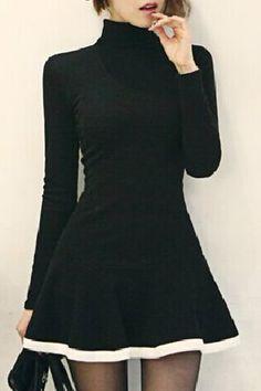 Stylish Women's Turtleneck Long Sleeve A-Line Dress