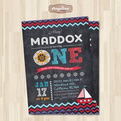 Nautical Birthday Chalkboard Invitation.Blue and red chevron. DIY card. Digital Printable card