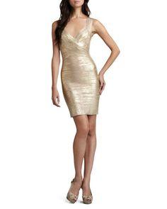 Crisscross Metallic Bandage Dress by Herve Leger at Neiman Marcus.