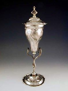 images of art nouveau silver plate | Silverplate on pewter & brass cup and cover with art ...