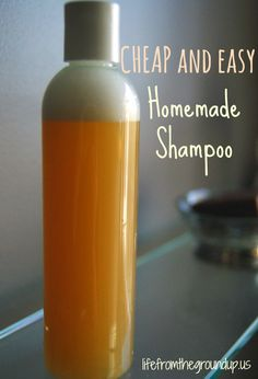 """homemade shampoo: use a clear bottle. Add some castile soap. Add water to roughly equal 3-4 x the original volume (just eyeball it, then shake the whole thing up). When you start this, your hair will feel greasier than ever. That's because your scalp is still used to being washed with engine degreaser, so it takes a little time (about a week) for it to settle down and stop producing so much oil. After an adjustment period though, it's all good."""
