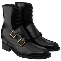 5th Avenue - Elevator Boots. Upper in shiny black calfskin, insole and midsole in genuine leather, Gold filled buckle. Hand Made in Italy.
