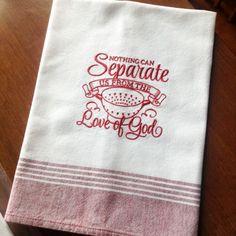 Embroidery McLeod Tea Towel, Red Tea Towel, Handmade tea towel, Love tea towel, Embroidery towel, Kitchen towel by JollieSweets on Etsy