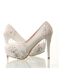 Courtlike Lovely Lace Beading Stiletto Heels Wedding Shoes Wedding Shoes- ericdress.com 10884282