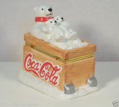 Coca Cola Polar Bear Trinket Hinged Box Coke Sled Snow Bears Container 3023P1