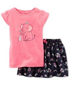 Carter's 2-Piece Toddler Girls' Graphic Tee & Printed Skirt Set