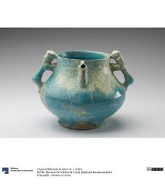 Pottery with lion handles dating to the 12th century in Iran.