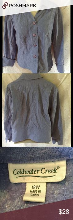 ➕ PLUS 18W Coldwater Creek Periwinkle Jacket Such a pretty color!  Floral imprint with sparkle threads, hard to photograph.  Wear with cuffs up or down.  Great open with cami or solo.  Buttons high enough to not need a shirt underneath.  82% cotton, 16% nylon, 2% spandex.  ss Coldwater Creek Jackets & Coats Blazers