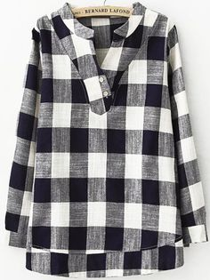Shop V Neck Plaid Navy Blouse at ROMWE, discover more fashion styles online. Kurtha Designs, Tunic Designs, Pakistani Fashion Party Wear, Pakistani Dress Design, African Fashion Dresses, Fashion Outfits, Online Fashion, Navy Blouse, Casual Tops For Women