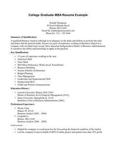 Resume Examples Sample Mba Application Resume Template Template