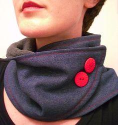 (Jenni) Blue Denim Red Fleece Button Upcycled Neckwarmer Scarf #RedButton