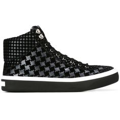 Jimmy Choo 'Argyle' hi-top sneakers (2.320.605 COP) ❤ liked on Polyvore featuring men's fashion, men's shoes, men's sneakers, black, mens high top shoes, mens leather lace up shoes, mens black sneakers, mens leopard print shoes and mens black shoes