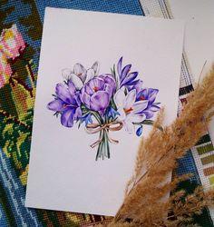 Ура, я снова в строю рисующих! Маленький букетик весенних крокусов для марафона рисования от @lisa.krasnova @art_markers. #lk_sketchflashmob #акварель #цветы #крокусы #букет #весна #учусьрисовать #рисунок #watercolor #art #flowers#spring