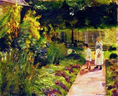 bofransson:  The Granddaughter of the Artist with Her Nanny in the Kitchen Garden in Wannsee Max Liebermann - 1923