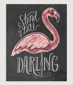 Flamingo Print Geschenk für ihre Stand groß von LilyandVal