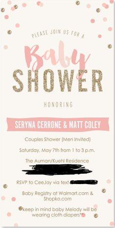 Seryna's Baby Shower Invitation from walmart.com #pink #gold #itsagirl #couplesshower