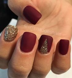 11 Trendy Easy Nail Art Ideas: #11. Red and Gold Glitter
