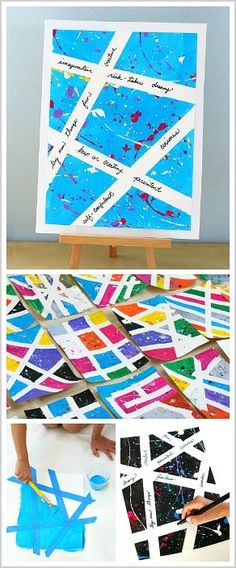 Tape Resist Art: Help children build their creative confidence with this splatter paint art project! Such a fun process art activity for kids! via @https://www.pinterest.com/cmarashian/boards/