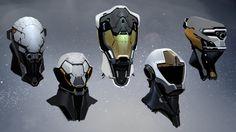 SciFi Helmets by Joshua James Shaw on ArtStation. Robot Concept Art, Armor Concept, Character Concept, Character Design, Zbrush, Arte Cyberpunk, Futuristic Art, Futuristic Armour, Sci Fi Armor
