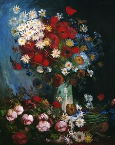 Still life with meadow flowers and roses - Vincent van Gogh (1853 - 1890)