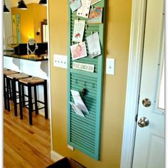 Shutter turned Home Office Central {Shutters}   Will be great next to my gigantic wall calendar/framed art