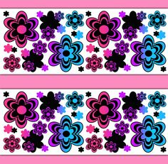 Details about Rainbow Abstract Floral Wallpaper Border Wall Decals ...