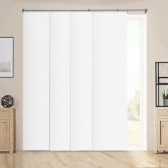 Chicology Adjustable Sliding Panels, Cut to Length Vertical Blinds, Performance White (Room Darkening) - Up to 80 inchW X 96 inchH Balcony Doors, Patio Doors, Blinds For Windows, Windows And Doors, Panel Blinds, Arched Doors, Window Blinds, Door Coverings, Hidden Spaces