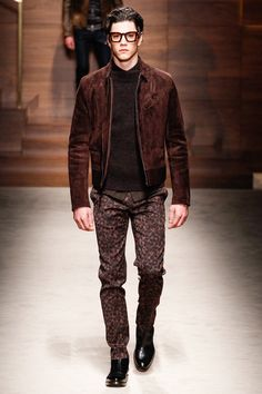 Salvatore Ferragamo | Fall 2014 Menswear Collection, brown sued jacket #menswear #glasses