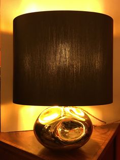 Moon Stone Effect Gold Coloured Glass Table Lamp 1970s